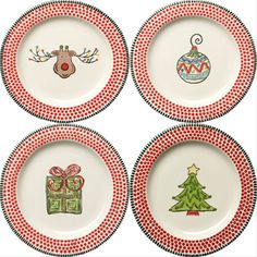 H Stroessler Mandy Bagwell Tabletop -- Simply Christmas -- Simply Christmas Salad Plates Christmas Salad Plates, Christmas China, Christmas Dishes, Christmas Tablescapes, Christmas Decorations, Miniature Christmas, Christmas Minis, Christmas Goodies, Christmas Printables