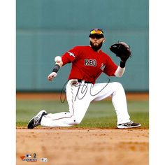 """Dustin Pedroia Boston Red Sox Fanatics Authentic Autographed 16"""" x 20"""" One Knee Photograph - $199.99"""