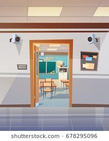 Empty School Corridor With Open Door To Class Room Flat Vector Illustration School illustration Anime backgrounds wallpapers Design