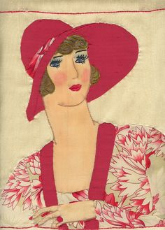 Silk applique on silk, design drafted from avintage 1928 photo