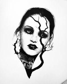 Neo Tattoo, Dark Tattoo, Creepy Drawings, Dark Art Drawings, Skull Tattoos, Black Tattoos, Libra And Sagittarius, Vampire Queen, Line Work Tattoo