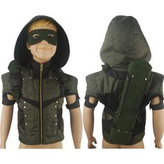 Kids Boys Green Arrow Season 4 Oliver Queen Coat Jacket Hoodie Halloween Cosplay Costume