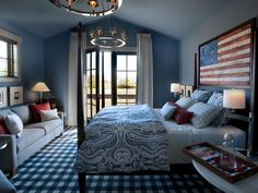 Gorgeous Americana inspired bedroom in blue & white with pops of red