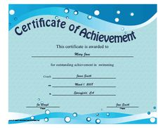 this printable certificate of achievement features blue waves and bubbles to be presented to an outstanding swimmer free to download and print - Free Swimming Certificate Templates
