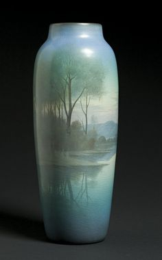 "Outstanding Rookwood 14"" Scenic Vellum Vase by Carl Schmidt, sold for $ 13,225 in 2005 Pottery Painting, Pottery Art, Rockwood Pottery, Clay Vase, Roseville Pottery, Art And Craft Design, Ceramic Techniques, Clay Tiles, Antique Bottles"