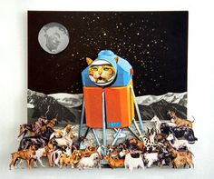 "Saatchi Online Artist Lucy Dyson; Assemblage / Collage, ""Moon Bug Lands in Dog Town, 1977"" #art"