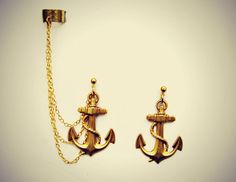 golden anchor ear cuff anchor earrings nautical by alapopjewelry, $24.00
