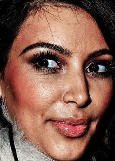 Celebrity close up of Kim Kardashian - a reminder that no one is perfect!
