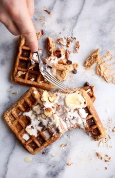Maca Almond Banana Chocolate Chip Waffles | Grain & Dairy Free via Nutritionist in the Kitch