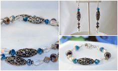 Jewelry Set, necklace, bracelet, earrings, blue jewelry, purple jewelry, gift…