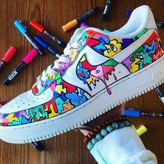 Sneakers Mode, Custom Sneakers, Sneakers Fashion, Custom Painted Shoes, Custom Shoes, Hand Painted Shoes, Painted Sneakers, Nike Shoes Air Force, Black Nike Shoes