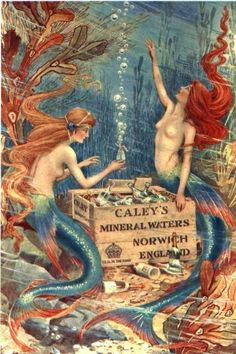 Mermaid's in advertising water - illustration - poster - advertisement - folklore - fantasy - fairytale Mermaid Fairy, Mermaid Tale, Sirens, Mythical Creatures, Sea Creatures, Posters Geek, Ski Posters, Travel Posters, Pub Vintage