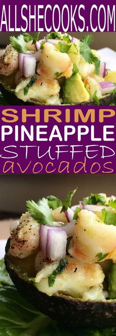 Stuffed avocado recipe with avocado and pineapple. Easy and healthy recipe perfect for an easy dinner this summer. The shrimp adds a bite of protein. Frugal Meals, Easy Weeknight Meals, Fall Recipes, Dinner Recipes, Dessert Recipes, Dinner Ideas, Avocado Recipes, Healthy Recipes, Seafood Recipes