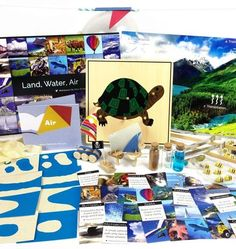 Land, Water, Air is a Montessori Classroom favorite. Your child can learn about land and water formations, see how air works, and develop their motor skills. Find more on MontessoriByMom.com