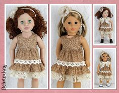 Brown Mori Girl Ruffled Dress  Doll clothes to fit 18 and 20