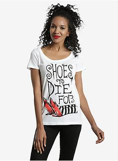 """<p>You're the kind of gal who'd do anything for the perfect pair of shoes — even if it meant dropping a house on top of the Wicked Witch of the East to snag her Ruby Slippers. Let your fellow shoe fanatics know you mean business when it comes to footwear whenever you sport this tee, inspired by the classic 1939 film, <I>The Wizard Of Oz</I>!</p><ul><li style=""""LIST-STYLE-POSITION: outside !important; LIST-STYLE-TYPE: disc !important"""">100% cotton</li><li style=""""LIST-STYLE-POSITION: out..."""