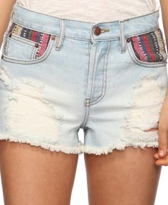 high waist jean shorts with patterned patch