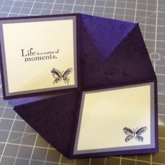 """Card Stock: Elegant Eggplant, Wisteria Wonder, Whisper White / Ink: Wisteria Wonder, Whisper White, Elegant Eggplant / Cool Tools: Butterfly Punch, Curly Label Punch / Stamp: Elements of Style, Elementary Elegance, Watercolor Minis, Sprinkles / Embelishments: Pearls, Whisper White 1/2"""" Ribbon FRONT: http://pinterest.com/pin/51369251969861787/"""