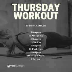 Crossfit Workouts At Home, Crossfit Workout Program, Workout Programs, Amrap Workout, Tabata, Workout Exercises, Thursday Workout, I Work Out, Excercise
