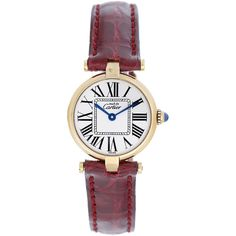 Pre-Owned Cartier Must de Cartier Gold Plaque Ladies Quartz Watch... (9,365 CNY) ❤ liked on Polyvore featuring jewelry, watches, no color, leather-strap watches, gold jewelry, tri color gold jewelry, cartier jewelry and cartier watches