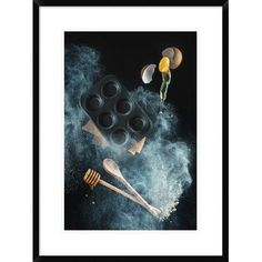 """Global Gallery 'Kitchen Mess: Honey Muffins' by Dina Belenko Framed Photographic Print Size: 30"""" H x 22"""" W x 1.5"""" D"""