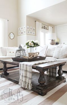 This DIY Balustrade Farmhouse Coffee Table is over the top incredible!  If you were to purchase it at Restoration Hardware it would run you about $1,800!  Fear NOT… if you visit Thrifty and Chic you are going to see her version of Jen Wood's / Ana White's gorgeous plans.  I really wanted to show you …