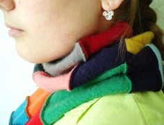Cashmere Scarf Patchwork Scarf Bright Cashmere Eco Chic Fashion Scarf by WormeWoole