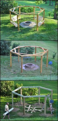 How To Build Your Own Fire Pit Swing Set http://theownerbuildernetwork.co/svb0 Thinking of improving your outdoor living space? If you have a wonderful open space, then this fire pit swing set is perfect for you! A fire pit swing set like this not only adds appeal to your home, but is also a wonderful venue for spending quality time with family and friends