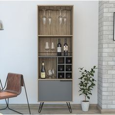 Rustic Bar Cabinet, Open Shelving, Shelves, Grey Doors, Drinks Cabinet, Bottle Rack, Wine Cabinets, Industrial Style, Home Furniture
