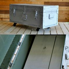 $60..Old military trunk chalk painted with Stone mason gray. Metal casters on the bottom. It would make a great coffee table or toy box! Old Trunks, Great Coffee, Toy Boxes, Chalk Paint, Repurposed, Upcycle, Projects To Try, Woodworking, Crafty