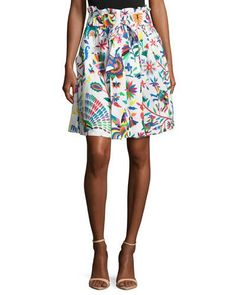 Shop Kori Folkloric-Print Gathered Poplin Skirt from Milly at Neiman Marcus  Last Call 095283ee80527