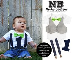 42f38273f9 Baby Boy Birthday Outfit Lime Navy Grey Gray - Vest Bow Tie Suspenders  Number One - First Birthday Outfit - Birthday Shirt - Outfit Idea. Noah s  Boytique