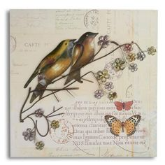 Bird On Branch Hessian Wall Art | Dunelm