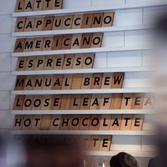 Giant Scrabble-like lettering. Menu board. Designed for Madison Coffee and Tea Co.