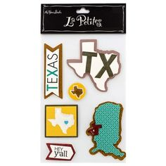 Welcome to the Lone Star State! There's no place like home! Make that known in your crafts with Texas Icon 3D Stickers. These adorable state-specific stickers feature a three-dimensional appearance with gel and glitter accents.    Featuring a sticker shaped like the USA, a sticker shaped like Texas, and additional Texas-themed icons, these stickers are perfect for your scrapbooks, cards, tags, care packages, and more! Don't mess with Texas!    Dimensions:    Smallest Sticker:   ...