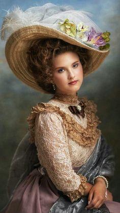 Victorian Women, Victorian Fashion, Beauty In Art, Fair Lady, Foto Art, Fine Art Photo, Girl With Hat, Woman Painting, Female Portrait