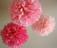 1 Large Tissue Paper Pom: party decor - wedding - nursery decor - engagement party - bridal shower - choose your color. $5.00, via Etsy.