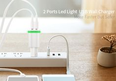 LED Light EU Plug 2 Ports USB Charger 5V 2A Wall Adapter - free shipping worldwide