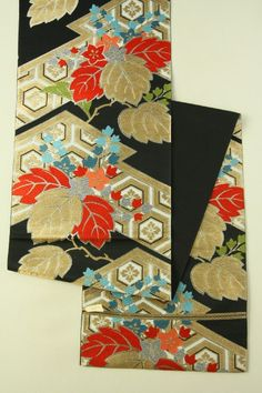 Black Fukuro Obi (Rokutsu), Gold and Multiple Matsukawa and Flower Pattenr / 黒地 金と多色の松皮菱桐花柄 六通袋帯   #Kimono #Japan http://www.rakuten.co.jp/aiyama/