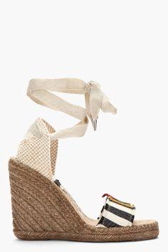 Navy & White Striped Espadrille Wedge Sandals