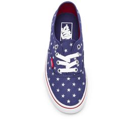Vans Authentic Stars Sneaker Shoes ($60) ❤ liked on Polyvore featuring shoes, sneakers, rubber sole shoes, metallic shoes, vans trainers, vans footwear and star shoes
