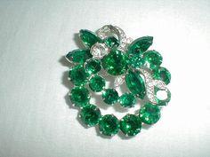 vintage eisenberg ice brooch emerald green by qualityvintagejewels