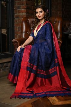 Blue Shade Handwoven Linen Saree Khadi Saree, Sari, Cotton Sarees Online, You Look Beautiful, Navy Blue Color, Color Shades, Online Clothing Stores, Hand Weaving, Pure Products
