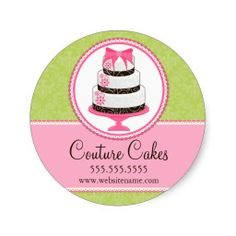 Couture Cakes Bakery Box Seals can be customized by you to include your own text.