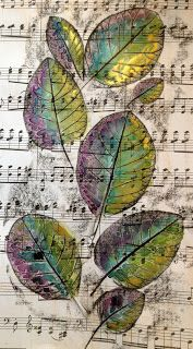 Leaf Grouping Wax Resist Watercolor by Laurel Check.