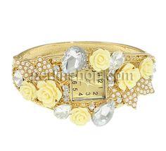 Zinklegierung Armbanduhr, mit Glas & Harz, goldfarben plattiert, mit Strass, frei von Nickel, Blei & Kadmium