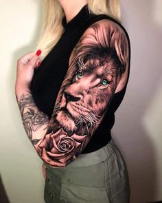 ▷ ideas for a lion tattoo to help awaken your inner strength - sleeve tattoo, on woman with blonde hair, wearing khaki pants and black top, lion with crown tattoo - Lioness And Cub Tattoo, Lion Cub Tattoo, Female Lion Tattoo, Lion Tattoo On Thigh, Lion Tattoo Sleeves, Lion Head Tattoos, Lion Tattoo With Crown, J Tattoo, Tattoo Wort