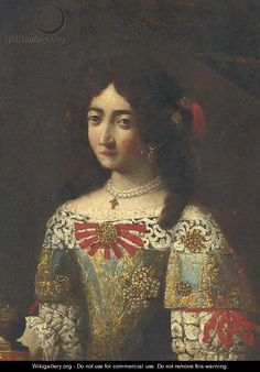 Portrait of a lady, in an embroidered dress a fragment  by (after) Pier Francesco Cittadini