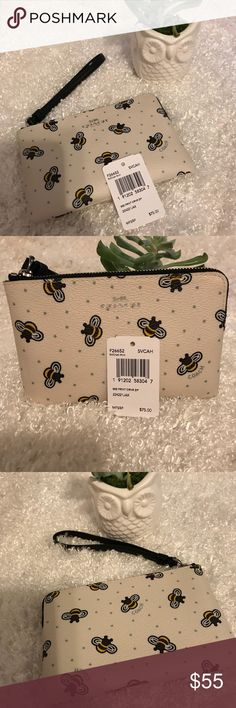 🐝Coach Wristlet 🐝 😍This cute 🐝 Bumble Bee Print Zip Wristlet w/ 🌽 🌸 Cornflower blue accents is NWT never used or carried makes for a great 🎁 for urself ( u deserve it ) OR someone u 💛this cute zip wristlet can be sent wrapped in Coach tissue paper n paper Coach 📦 pls see last pic.  Pls msg me if u would like ur item 🎁 wrapped   🚨 PLS KEEP IN MIND WHEN OFFERING POSH TAKES 20% FROM THE SELLER 🚨 Coach Bags Clutches & Wristlets