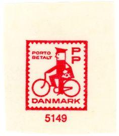 stampdesigns: Denmark prepaid stamp: man on bike c. 1963